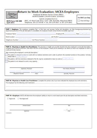 Return to Work Evaluation Form