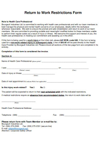 Return to Work Restrictions Form
