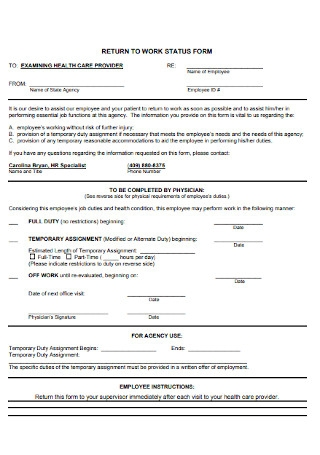 Return to Work Status Form
