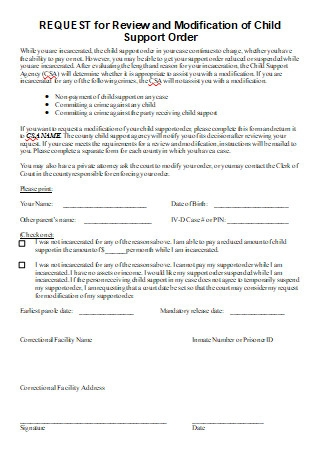 Review and Modification of Child Support Order