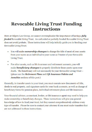 Revocable Living Funding Trust