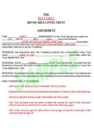 Revocable Living Trust Amedment
