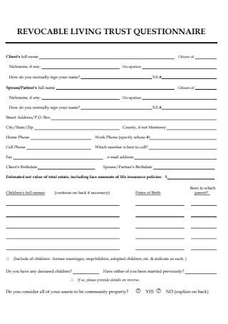 Revocable Living Trust Questionnaire