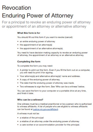Revocation Enduring Power of Attorney
