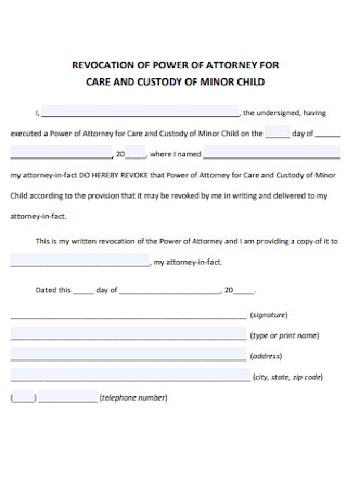 Revocation Power of Attorney for Care