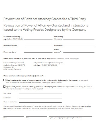 Revocation of Power of Attorney Granted to a Third Party
