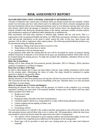 Risk Assessment Report Template