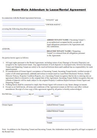 Room Mate Addendum Rental Agreement
