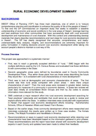 Rural Economic Development Planning Report