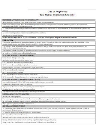 Safe Rental Inspection Checklist