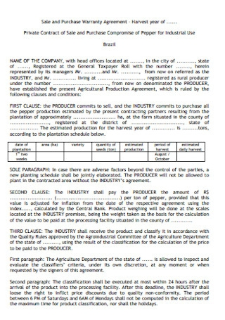 Sale and Purchase Warranty Agreement Template