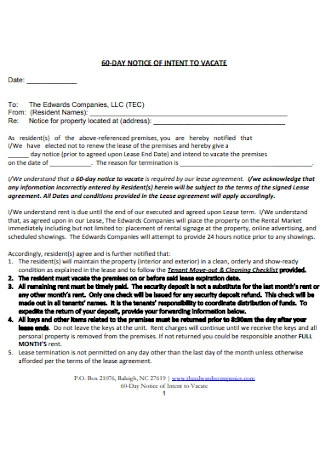 Sample 60 Day Notice of Intent to Vacate