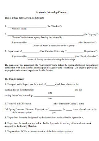 Sample Academic Internship Contract