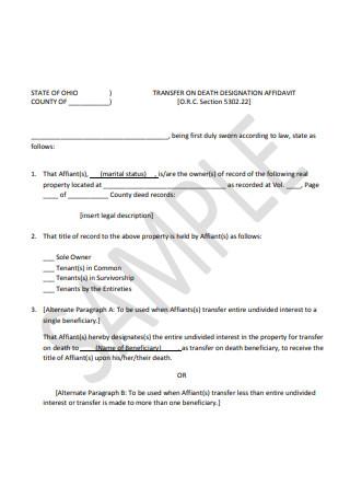 Sample Affidavit of Death