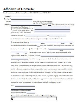 Sample Affidavit of Domicile