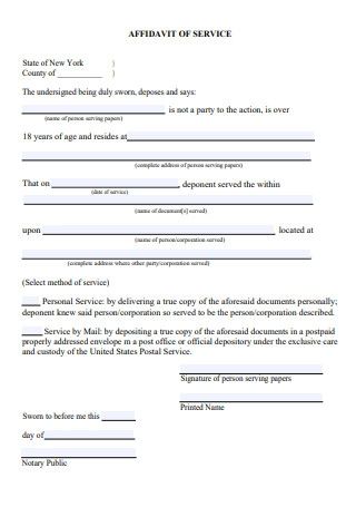Sample Affidavit of Service