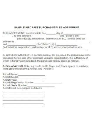 Sample Aircraft Sale and Purchase Agreement
