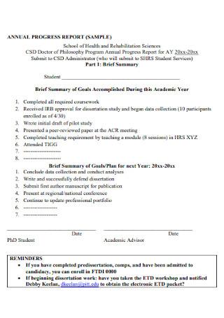 Sample Annual Progress Report