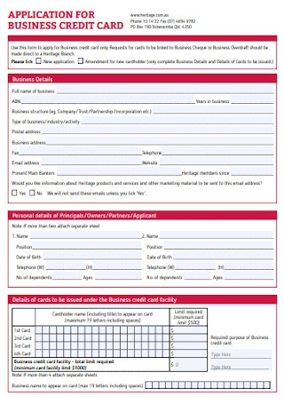 Sample Application for Business Credit Card