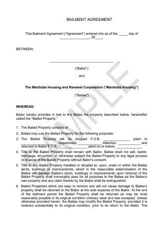 Sample Bailment Agreement