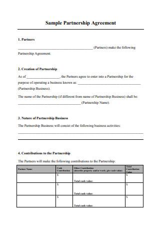 Sample Business Partnership Agreement