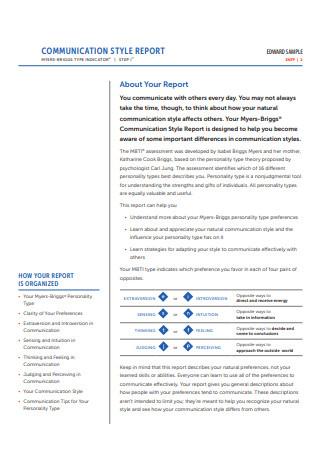 Sample Communication Report