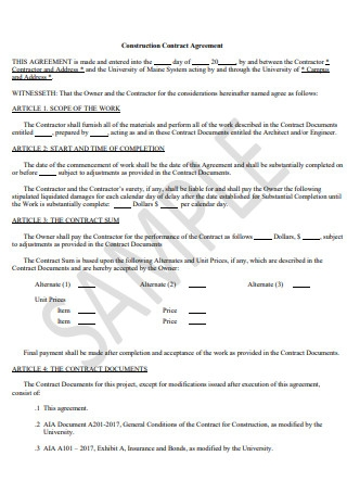 Sample Construction Contract Agreement
