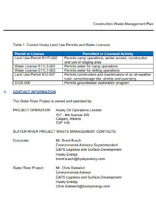 Sample Construction Waste Management Plan