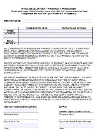 Sample Development Warranty Agreement