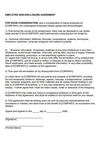 Sample Employee Non Disclosure Agreement