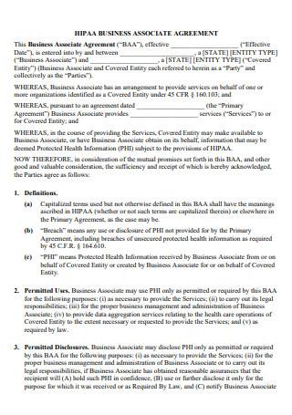Sample HIPAA Business Associate Agreement