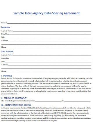 Sample Inter Agency Data Sharing Agreement