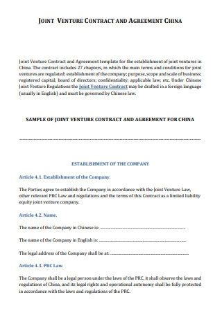 Sample Joint Venture Contract