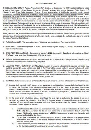 Sample Lease Amendment