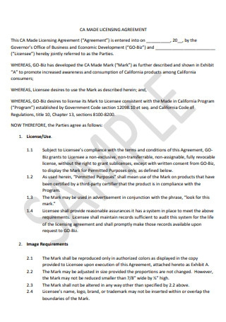 Sample Licensing Agreement