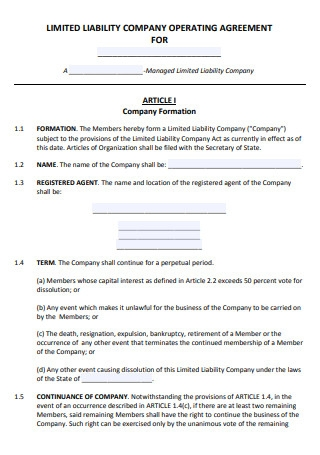 Sample Limited Lialibity Company Operating Agreement