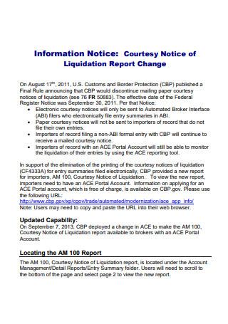 Sample Liquidation Report