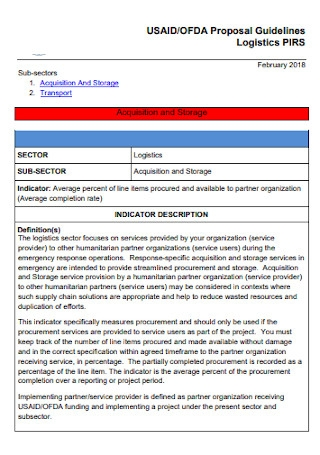 Sample Logistics Proposal