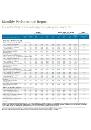 Sample Monthly Performance Report
