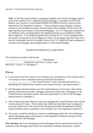 Sample Permitted Mortgage Agreement