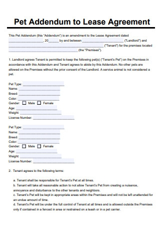 Sample Pet Addendum to a Lease Agreement