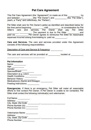 Sample Pet Care Agreement