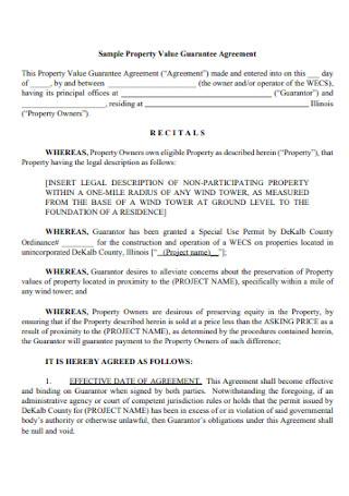 Sample Property Value Guarantee Agreement