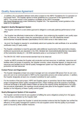 Sample Quality Assurance Agreement