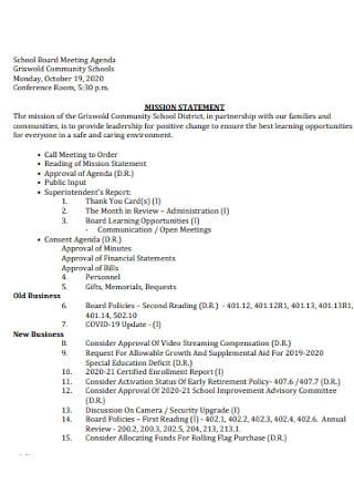 Sample School Board Meeting Agenda