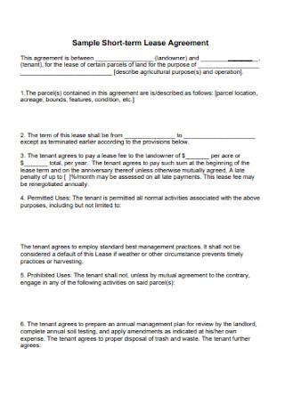Sample Short term Lease Agreement