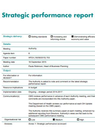 Sample Strategic Performace Report