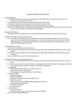 Sample Supervisor Report