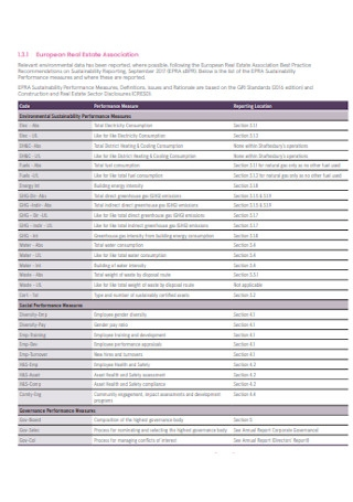 Sample Sustainability Data Report