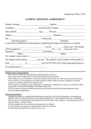 Sample Training Agreement
